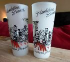 Vintage Plantation Scene Frosted Ice Tea Glass Southern Hospitality - set of 2