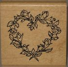 Embossing Arts Rubber Stamp Rose Wreath Heart