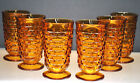 VINTAGE CUBIST WHITEHALL PRESSED GLASS ICED TEA GOBLET BY COLONY GLASS SET OF 6