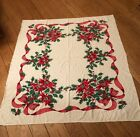 True Vintage MidCentury Poinsettia Print Tablecloth 60 x 51 Christmas Holiday