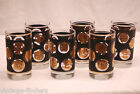 Vintage Lot Black w Gold Coins by Libbey High Ball Tumbler Glasses Set of 6 MCM