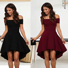 Women Short Sleeve Off Shoulder High Low Dress Evening Party Asymmetric Dress
