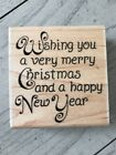 STAMPABILITIES WOOD RUBBER STAMP WISHING YOU A VERY MERRY CHRISTMAS