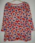 NEW Talbots Tee 1X 2X 3 4 Slv Knit Top Shirt Cotton Spandex Floral Red Pink Blue