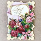 1 Punch Studio 3D Dimensional Die Cut Embellished Note Card Floral Thank You