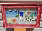 MULTI COLOR GLASS ART WITH SAIL BOATS CHAIRS CLOTHE LINE OCEAN SAND SHELL FENCE