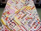 SMALL Vintage Hand Set Feed Sack Gee's Bend Style TIED QUILT,