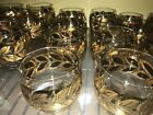 Vintage Lot Of 22 Gold Black Amber Leaf Roly Poly Glasses Hand Painted