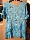 1X Super Cute Long Blue Tie Dye Blouse with Layered Lace  Crochet Overlay