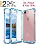 iPhone7 8 Plus Case Crystal Clear Hard TPU Rubber Bumper Shockproof Cover Blue