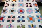FULL Vintage Hand, Machine Set Feed Sack, Shirting KITE SAW TOOTH STAR Quilt TOP