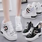 Womens High Top Wedge Heel Platform Fashion Sneakers Trainers Shoes Outdoors New