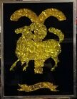 Vintage 1976 Zodiac Sign Aries Framed Foil Art by Screen Scopes Inc Rare