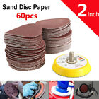 61pcs 2'' inch 50mm 60-320 Grit Sander Sanding Discs Polishing + M6 Backing Pad