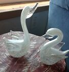 Vlntage Pair of White Murano Art Glass Swans, From Grandmothers Estate