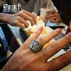 BEIER Stainless Steel Viking Ring vintage retro punk fashion triangle men jewelr
