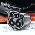 Beier 316L Stainless Steel Antique silve Fashion Male's  Biker ring Route 66 for