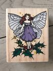 RUBBER STAMPEDE WOOD RUBBER STAMP ENCHANTED HOLLY FAIRY WAND