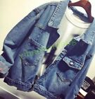 Womens Ripped Hole Denim Vintage Denim Jeans Jacket Boyfriend BF Loose Coat HOT