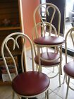 SET of 5--Ice Cream Parlor-Soda Fountain-Cafe-BENT WOOD STYLE  METAL CHAIRS