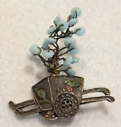Antique Chinese Filigree Silver Enamel, Glass Flowering Tree Cart MOVABLE Brooch