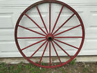 Wagon Wheel Red Steel Rim Great Solid Condition