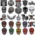 Embroidered Punk Skull Rose Sew On Iron On Patch Badge Bags Hat Jackets Applique