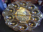 L.E Smith Amber Moon and Stars Egg Plate Platter 13