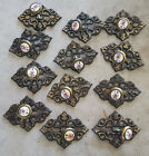 12 Vintage Amerock Porcelain on Brass 63857-10 Drawer Pull Knobs + Backplates
