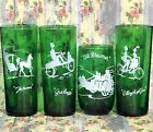 4 Anchor Hocking Forest Green Gay Ninties Roly Poly Tumbler Glasses Tea Water EC