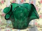 Bowl Anchor Hocking Glass Forest Green Vintage Candle Candy Dish Vintage 4 1/2
