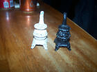 Vtg Pot Belly Stove Salt and Pepper Shakers 2 3 4 Tall Cork Stopper Cast Iron