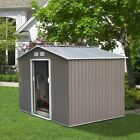 Steel Outdoor Storage Shed Garden Backyard Toolshed with Floor Foundation Frame