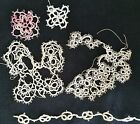 A3 Antique Tatted Trims Lace Tatting Edging Doll Dolls Lot of 4 Bits Pieces
