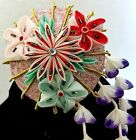 Vintage Hair Ornament Japanese Tsumami Kanzashi Japan Wisteria Umbrella Bells
