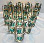 VINTAGE CULVER EMERALD GREEN AND GOLD HIGHBALL / WHISKEY GLASS SET OF 14PC