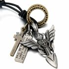 Vintage Charm Cross Angel Wings Dog Tag Mens Pendant Necklace w Leather Cord