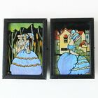 Pair Vtg Art Deco Real Morpho Butterfly Wing Reverse Painted Glass Miniature Art