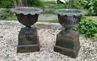 Antique Cast Iron Garden Planter Urns with Bases, Pair