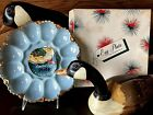 Vintage Anchorglass NEW Delphite Blue Milk Glass Egg Plate 22 K Gold w/box/label