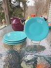 4 Luncheon PLATES set lot turquoise blue HOMER LAUGHLIN FIESTA WARE 9