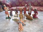 Vtg ET Italy 12 pc Hand Painted Signed NATIVITY CRECHE FIGURINES 9 7