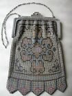 Antique Art Deco Frame Blue Pink Tan Enamel Beadlite Chain Mail Mesh Purse W