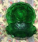 Forest Green Scalloped Depression Glass Bowl With Diamond Hobnail 6 1/4 Diameter