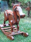 Vintage Wooden Rocking Horse Childs Rocker Country Plow Horse w Yoke Handcrafted
