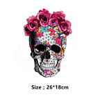 Large Mosaics Scull Flowers Patch Iron On Heat Transfer Embroidery Patch Appliq