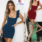 Women Ruffle Square Collar Mini Dress Fitted Evening Party Bodycon Sexy Sundress