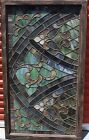 Rare Antique Church Stained Glass Leaded Window Wood Framed 56x32