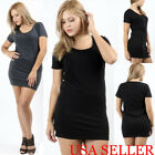 Sexy Women PLUS COTTON BODY-CON Cocktail Club Party Short Sleeve MINI-DRESS USA