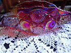L E Smith Moon  Stars Heritage Red Quintec Carnival Glass Banana Fruit Bowl